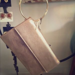 Bags - Rose gold metallic clutch